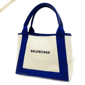 バレンシアガ Balenciaga レディース トートバッグ カバ NAVY CABAS S キャンバストート スモール ポーチ付 ナチュラル×ブルー 339933 AQ38N 4181 [在庫品]|brandol