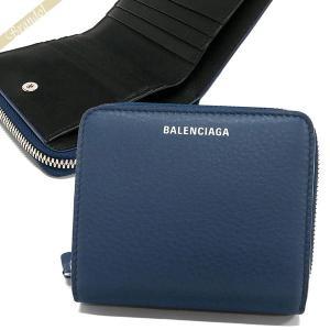 バレンシアガ Balenciaga レディース 二つ折り財布 レザー ラウンドファスナー ネイビー 516366 DLQ0N 4205 [在庫品]|brandol