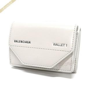 バレンシアガ Balenciaga レディース 三つ折り財布 ロゴ レザー ミニウォレット ホワイト系 529098 0ST2N 1260 【2019年春夏新作】 [在庫品]|brandol
