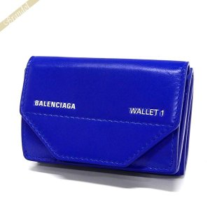 バレンシアガ Balenciaga レディース 三つ折り財布 ロゴ レザー ミニウォレット ブルー 529098 0ST2N 4290 【2019年春夏新作】 [在庫品] brandol