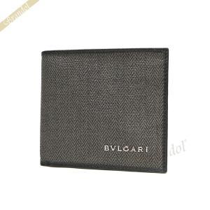 ブルガリ BVLGARI メンズ 二つ折り財布 WEEKEND ウィークエンド キャンバス グレー系...