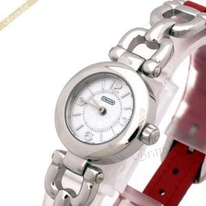 コーチ COACH レディース腕時計 ウェイバリー コンビベルト 23mm シルバー×レッド 14501853 [在庫品]|brandol