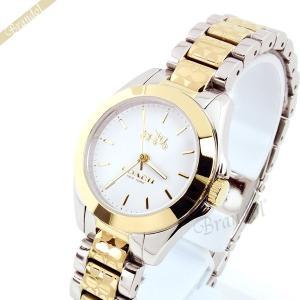 コーチ COACH レディース腕時計 トリステン ミニ ブレスレット ロゴマーク コンビベルト 28mm ホワイト×シルバー×ゴールド 14502186 [在庫品]|brandol