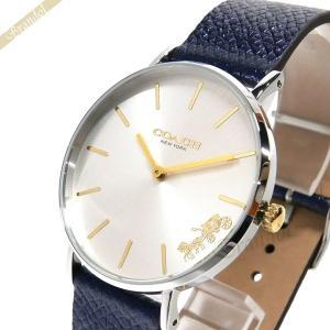 コーチ COACH レディース腕時計 Perry ペリー 馬車モチーフ メタリック ベルト 36mm シルバー×ネイビー 14503156|brandol