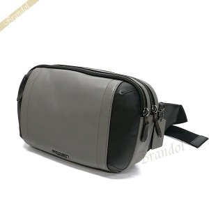 コーチ COACH メンズ ボディバッグ レザー ウェストポーチ グレー×ブラック F37594 QBHGR 【コーチアウトレット】 [在庫品]|brandol