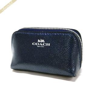 コーチ COACH ポーチ レザー ミニ コスメティックケース ネイビー F53384 SVMED 【コーチアウトレット】[在庫品]|brandol