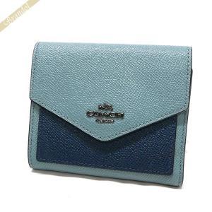 コーチ COACH 財布 レディース 三つ折り財布 スモール カラーブロック レザー ブルー系 F59007 DKM2U [在庫品]|brandol