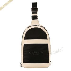 コーチ COACH メンズ ボディバッグ ナイロン×レザー ホワイト×ブラック F59320 HA/BK 【コーチアウトレット】[在庫品]|brandol