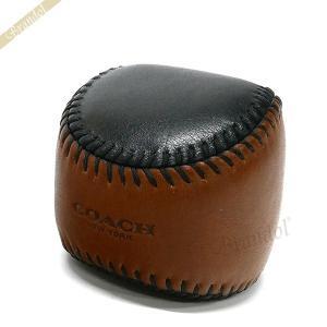 コーチ COACH メンズ・レディース ペーパーウェイト ベースボール レザー ブラウン×ブラック F62147 AP7 【コーチアウトレット】[在庫品]|brandol