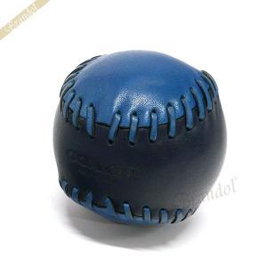 コーチ COACH ペーパーウェイト ベースボール レザー 文鎮 ブラック×ブルー系 F65249 DWF [在庫品]|brandol