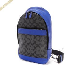 コーチ COACH メンズ ボディバッグ シグネチャー ブルー×ブラック系 F72043 EP7 【コーチアウトレット】 [在庫品]|brandol