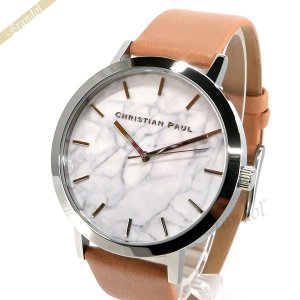 クリスチャンポール Christian Paul メンズ・レディース腕時計 マーブル コレクション Airlie Marble 43mm ホワイト×ベージュ MR-04 [在庫品]|brandol