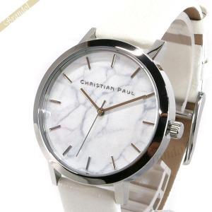 クリスチャンポール Christian Paul レディース腕時計 マーブル コレクション Hayman Marble 35mm ホワイト×シルバー MRL-03|brandol