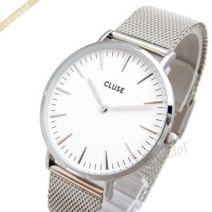 クルース CLUSE メンズ・レディース 腕時計 La Boheme ラ・ボエーム メッシュベルト 38mm ホワイト×シルバー CL18105 [在庫品]|brandol