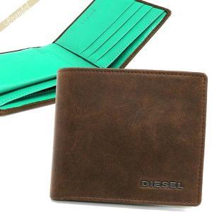 ディーゼル DIESEL メンズ 二つ折り財布 レザー ブラウン×ミントグリーン X03363 P1075 H6183 [在庫品]|brandol