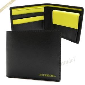 ディーゼル DIESEL メンズ 二つ折り財布 FRESH STARTER レザー ブラック×イエロー X03363 PR818 H2926 [在庫品]|brandol
