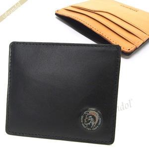ディーゼル DIESEL 定期入れ メンズ JOHNAS I レザー カードケース ブラック×オレンジ X03377 P0877 H5926|brandol