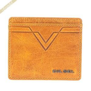 ディーゼル DIESEL カードケース メンズ イーグルステッチ レザー 定期入れ イエロー X03936 PR227 T2216|brandol