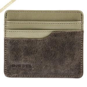 ディーゼル DIESEL カードケース メンズ レザー 定期入れ ダークブラウン×グレー系 X04383 P1075 H6184|brandol