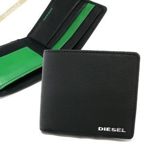 ディーゼル DIESEL 財布 メンズ 二つ折り財布 FRESH STARTER HIRESH レザー ブラック×グリーン X04459 PR227 H5155 【2018年春夏新作】 [在庫品] brandol