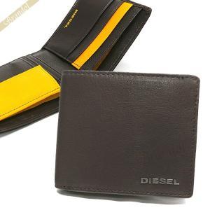 ディーゼル DIESEL 財布 メンズ 二つ折り財布 FRESH STARTER HIRESH S ゴートレザー ブラウン×イエロー X04459 PR227 H6607 【2018年春夏新作】[在庫品]|brandol