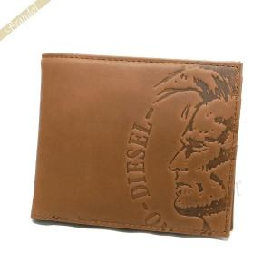 ディーゼル DIESEL 財布 メンズ 二つ折り財布 モヒカンスタンプ レザー ライトブラウン X04763 PR160 T2278 【2018年春夏新作】[在庫品]|brandol
