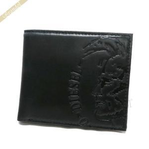 ディーゼル DIESEL 財布 メンズ 二つ折り財布 モヒカンスタンプ レザー ブラック X04763 PR160 T8013 [在庫品]|brandol