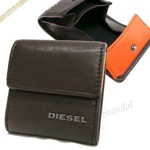 ディーゼル DIESEL 財布 メンズ 小銭入れ ゴートレザー コインケース ブラウン×オレンジ X04767 PR227 H6385 [在庫品]|brandol