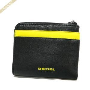 ディーゼル DIESEL 財布 メンズ 小銭入れ L字ファスナー ゴートレザー コインケース ブラック×イエロー X04768 PR227 H3350|brandol