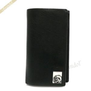 ディーゼル DIESEL メンズ 二つ折り財布 24 A DAY II モヒカンプレート レザー ブラック X05343 PR480 T8013 [在庫品]|brandol