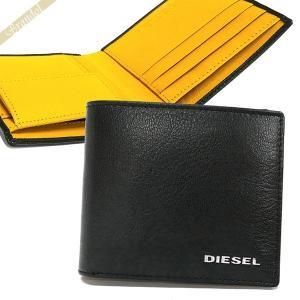 ディーゼル DIESEL メンズ 二つ折り財布 レザー ブラック×イエロー X05601 P1752 H6841 [在庫品] brandol
