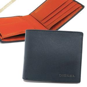 ディーゼル DIESEL メンズ 二つ折り財布 レザー ネイビー×オレンジ X05601 P1752 H6842 [在庫品] brandol
