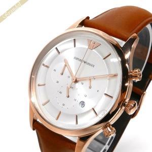 エンポリオアルマーニ EMPORIO ARMANI メンズ 腕時計 LAMBDA ラムダ クロノグラフ 43mm シルバー×ライトブラウン AR11043 [在庫品]|brandol