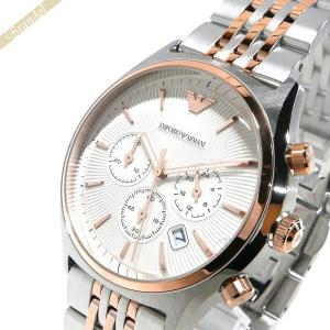 エンポリオアルマーニ EMPORIO ARMANI メンズ 腕時計 42mm クロノグラフ シルバー×ローズゴールド AR1998 [在庫品]|brandol