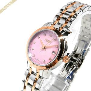 フェンディ FENDI レディース腕時計 ラウンド クラシコ ダイヤモンド 26mm ピンクパール×シルバー×ピンクゴールド F217270D|brandol