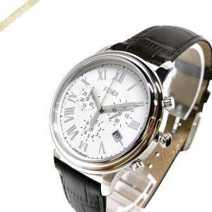 フェンディ FENDI メンズ 腕時計 クラシコ クロノグラフ 38mm ホワイト×ブラウン F253014021 [在庫品]|brandol
