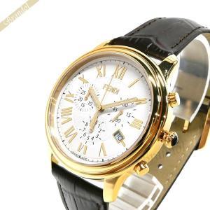 フェンディ FENDI メンズ 腕時計 クラシコ クロノグラフ 42mm ホワイト×ブラウン F253414021 [在庫品]|brandol