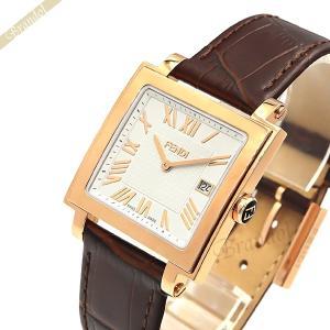 フェンディ FENDI メンズ腕時計 クワドロ スクエア ホワイト×ブラウン F604514021 [在庫品]|brandol