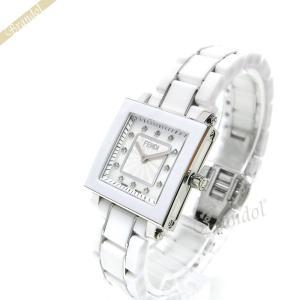 フェンディ FENDI レディース腕時計 セラミック スクエア ダイヤモンド 25mm ホワイトパール×ホワイト F622240BD [在庫品]|brandol