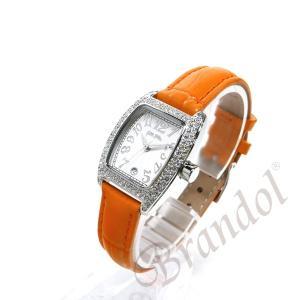 フォリフォリ Folli Follie レディース腕時計 ラインストーン トノー型 ホワイト×オレンジ S922ZI SLV/ORG [在庫品]|brandol|02