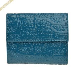 フォリフォリ Folli Follie レディース 二つ折り財布 ロゴエンボス ターコイズブルー WA0L027SQ/AQU|brandol