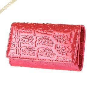 フォリフォリ Folli Follie キーケース レディース ロゴ エンボス 4連 ピンク WA0L034SP PNK|brandol