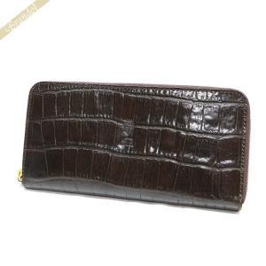 フェリージ Felisi 財布 メンズ ラウンドファスナー長財布 クロコ型押し エンボス レザー ブラウン 125/SA 0002 DARK BROWN [在庫品] brandol