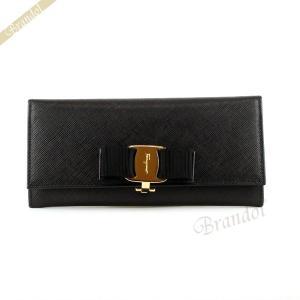 フェラガモ Ferragamo レディース 長財布 ヴァラリボン 型押し レザー ブラック 22 B559 0588260 NERO [在庫品]|brandol