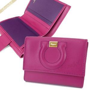 フェラガモ Ferragamo レディース 二つ折り財布 レザー ガンチーニ ピンク×パープル 22 C844 0714800 [在庫品]|brandol