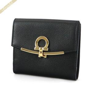 フェラガモ Ferragamo レディース 二つ折り財布 ガンチーニ レザー ブラック 22 C877 0673998 [在庫品]|brandol