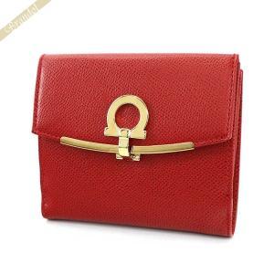フェラガモ Ferragamo レディース 二つ折り財布 ガンチーニ レザー レッド 22 C877 0673999 [在庫品]|brandol