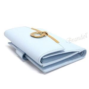 フェラガモ Ferragamo レディース 二つ折り財布 ガンチーニ レザー ライトブルー 22 C877 0683292 [在庫品]|brandol|03