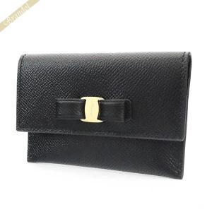 フェラガモ Ferragamo カードケース レディース ヴァラリボン レザー ブラック 22 D155 0683522 [在庫品]|brandol