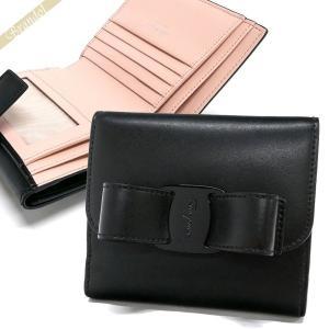 フェラガモ Ferragamo レディース 二つ折り財布 ヴァラリボン レザー ブラック×ライトピンク 22 D268 0691208 [在庫品]|brandol